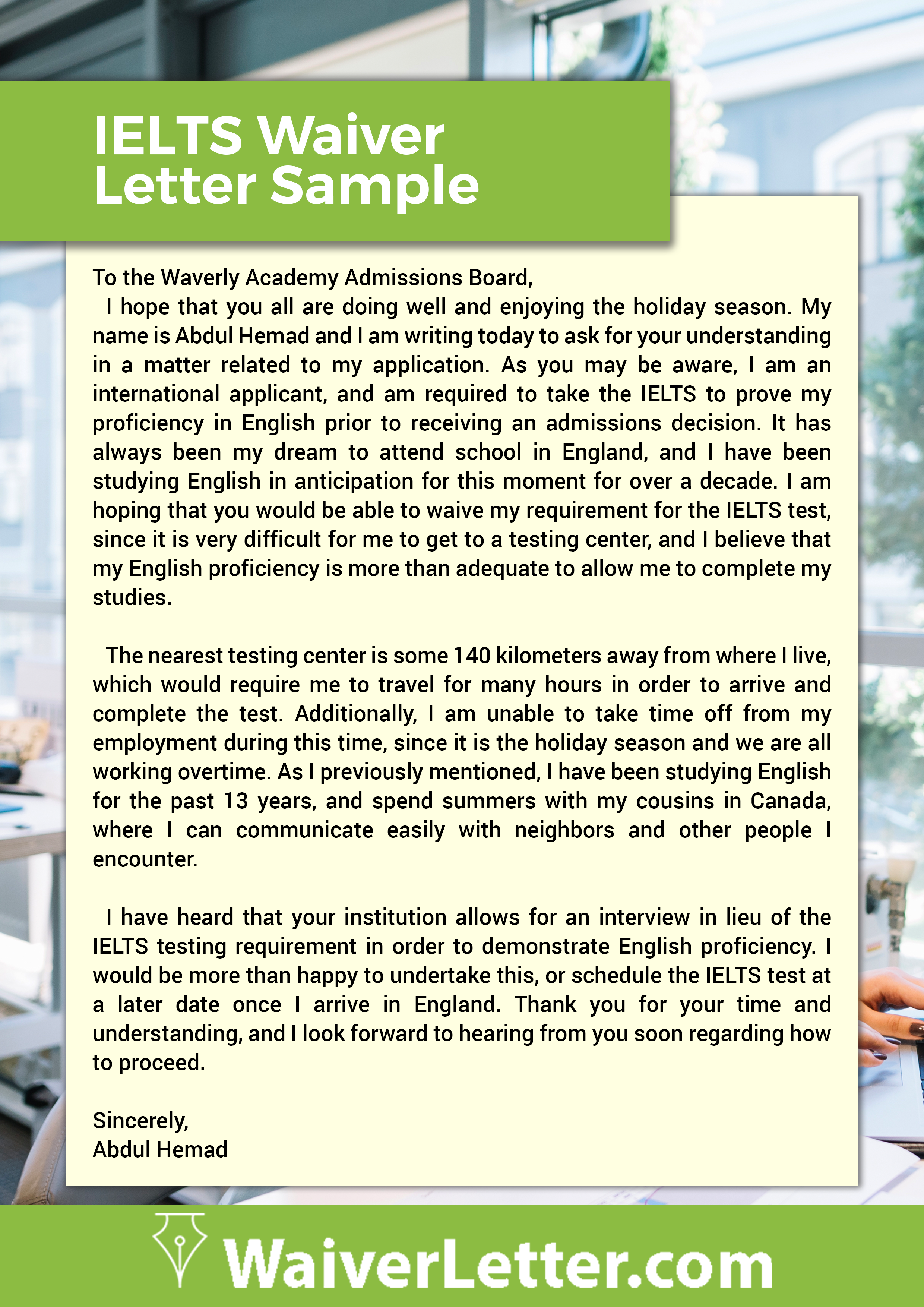 how to write application letter for master degree