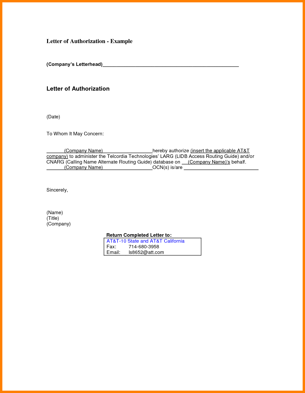 sample authorization letter for processing application