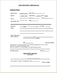leave application form template free download