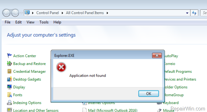 mail control panel application not found