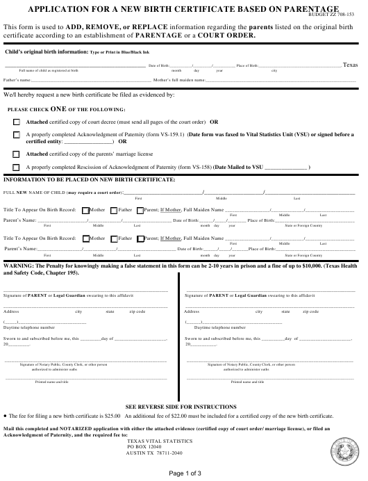 ehealth application for birth certificate